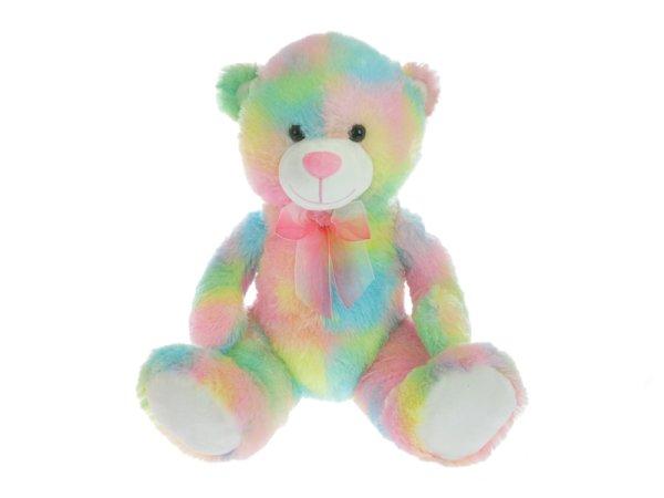 Mikro trading Medvěd plyšový sedící - 50 cm - růžovo-žlutá