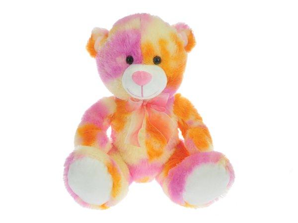 Mikro trading Medvěd plyšový sedící - 50 cm - oranžovo-růžová