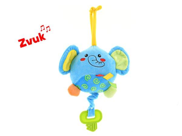 Mikro trading Slon plyšový s hracím strojkem na natažení - 13 cm