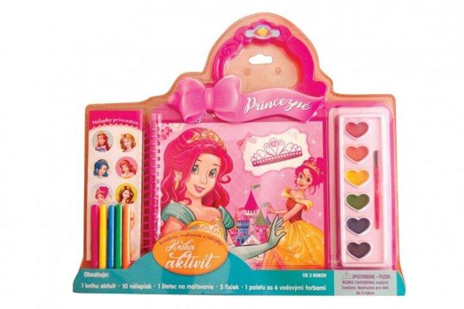 Teddies Kniha aktivít - Princezné s vodovými farbami, štetcom, samolepkami a fixami v blistri - SK verzia