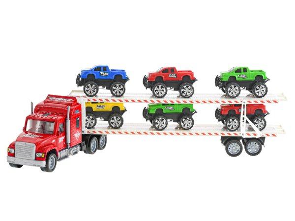 Mikro trading Auto přepravní s autem terénním - 56 cm - červená