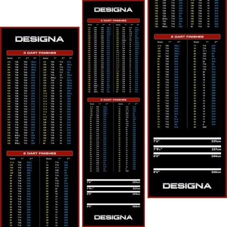 Designa Dart Mat Checkout - Koberec k terči - Wide - Red