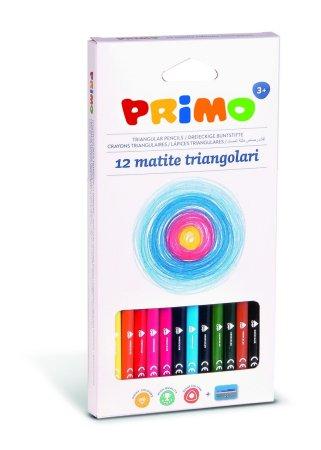 PRIMO Pastelky trojboké - 12 barev a ořezávátko