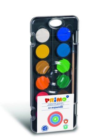 PRIMO BLACK Vodové barvy - 12 barev a štětec