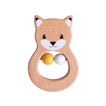 BIGJIGS Baby - Dřevěné chrastítko liška