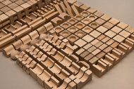 EkoToys Dřevěné kostky přírodní - 220 ks XL