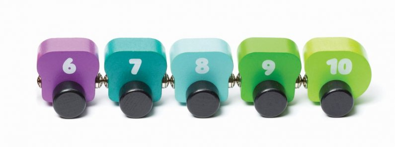CUBIKA Barevná housenka s čísly - dřevěná hračka s magnety - 10 dílů