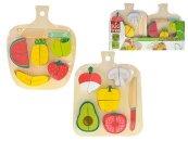 Mikro trading Deska dřevěná s krájecím ovocem / zeleninou - 12 ks