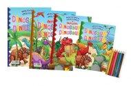 Teddies Omalovánky+aktivity/Maľovanky+aktivity - Dinosauři/dinosaury - 4 ks + pastelky