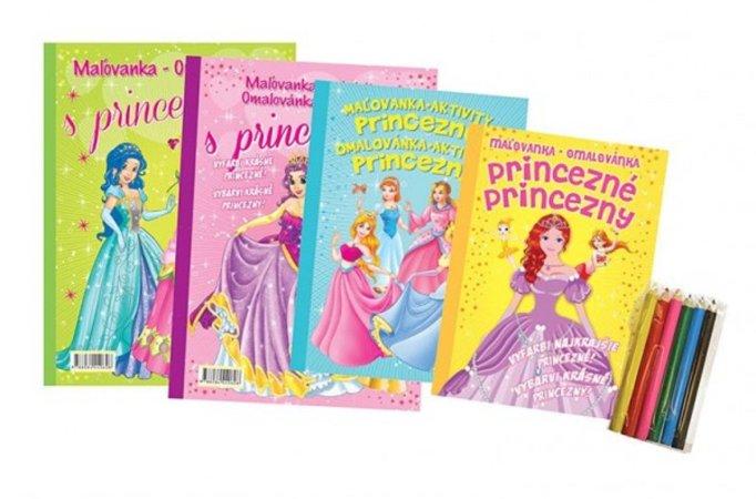 Teddies Omalovánky+aktivity/Maľovanky+aktivity - Princezny/princezné - 4 ks + pastelky