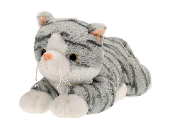 Mikro trading Kočka plyšová - 30 cm - šedá