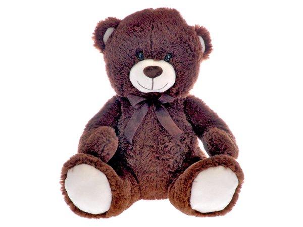 Mikro trading Medvěd plyšový s mašlí - 40 cm - tmavě hnědá
