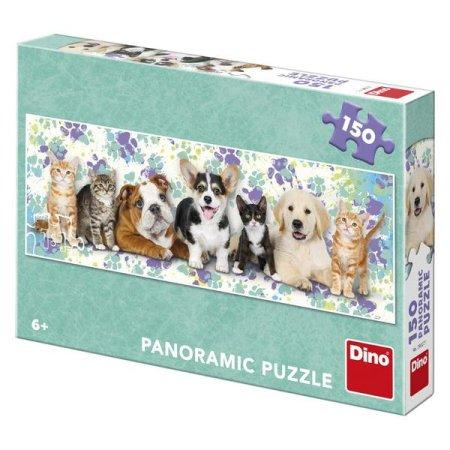 Dino Puzzle panoramatické - Psi a kočky - 150 dílků